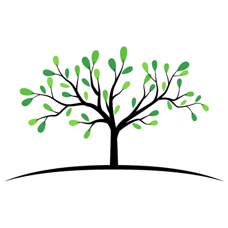 Green tree with wide branches symbol Stock Illustratie
