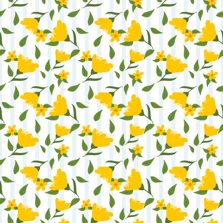 Yellow flowers and green leaves seamless pattern