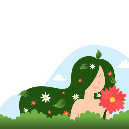 Mother nature concept with a woman and flowers