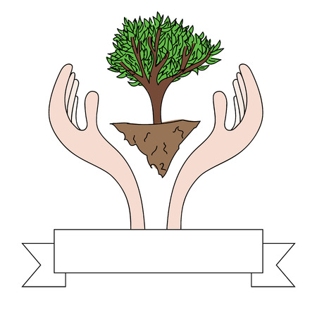 Drawing of hands protecting a green tree