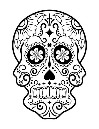 Crâne de sucre noir et blanc