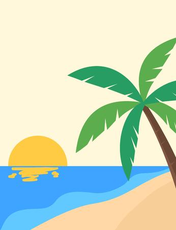 Tropical beach sunset poster