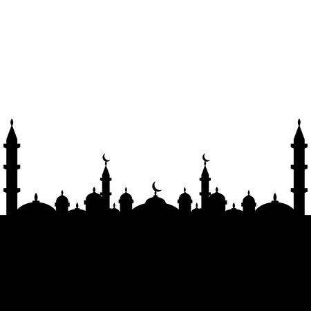 Mosque silhouette in black and white Ilustração