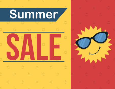 Summer sale banner with cartoon sun wearing glasses