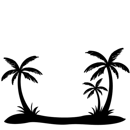 Palm trees silhouette with blank space