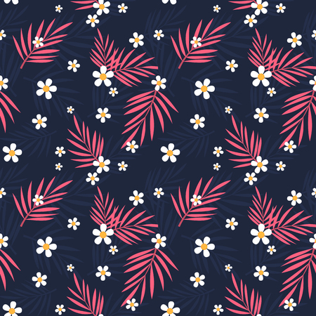 Tropical pink leaves and white flowers seamless pattern