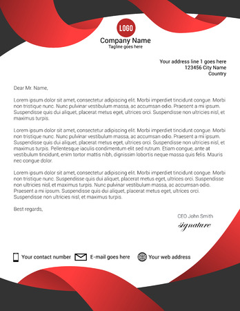 Black and red modern letterhead template
