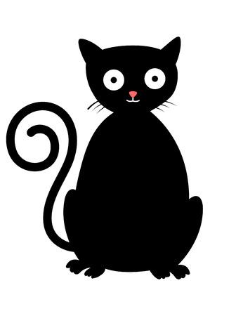 Cute cartoon black cat Illustration