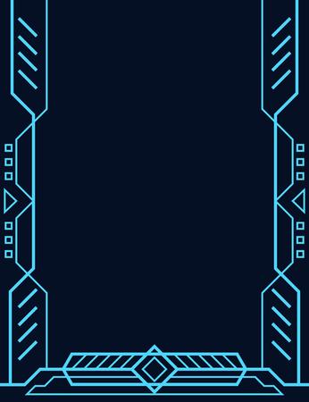 Futuristic tech lines frame background