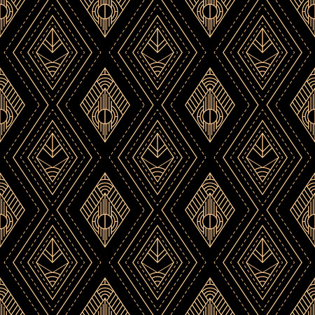 Geometric gold and black luxury seamless pattern Ilustração