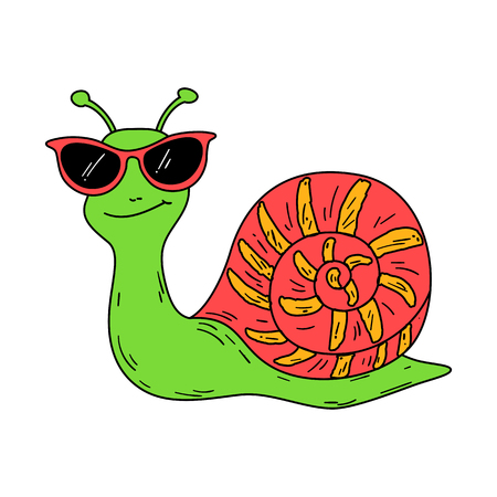Cartoon snail wearing glasses