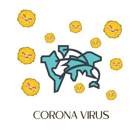 Corona virus vector, virus vector illustration, cartoon virus Ilustração