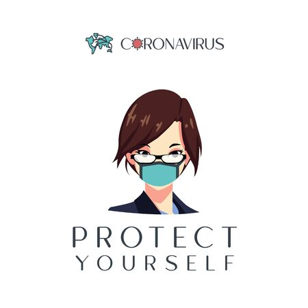 Vector illustration protect from virus. protect from covid-19 virus or corona virus concept. using mask to protect yourself. defend from virus. avoiding corona viruses
