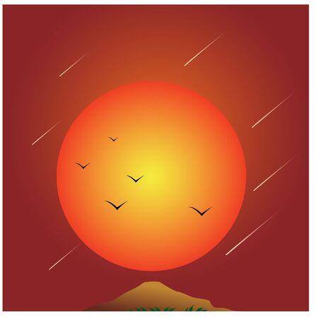 Desert sunset with silhouette flying bird vector illustration