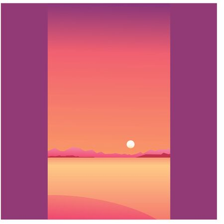 romantic orange Sunset on hill with ocean colorful. Vector illustration