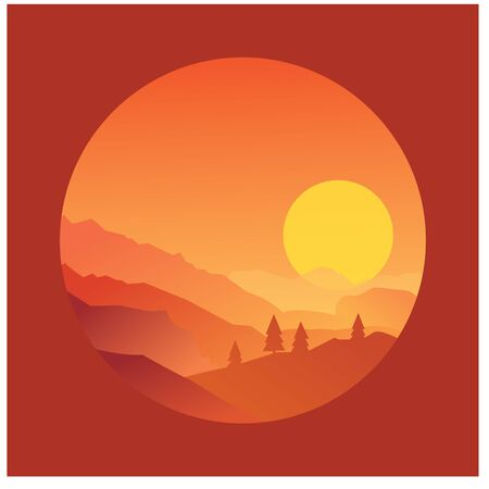 Mountain sunset with pine forest and cloudy sky, vector illustration Illustration