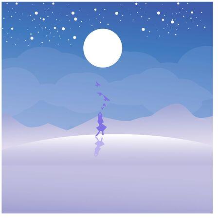Beach scenery, silhouette girl walking on the hill vector illustration Ilustracja
