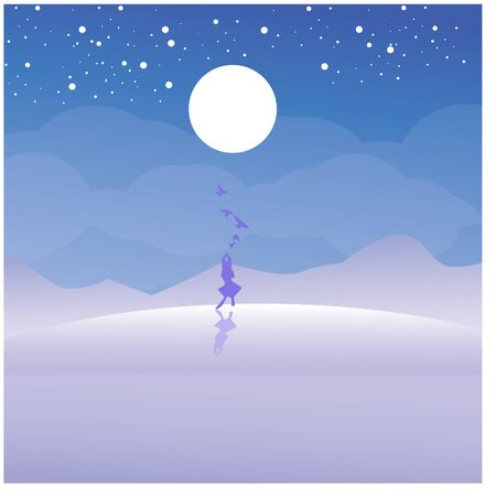 Beach scenery, silhouette girl walking on the hill vector illustration Illustration