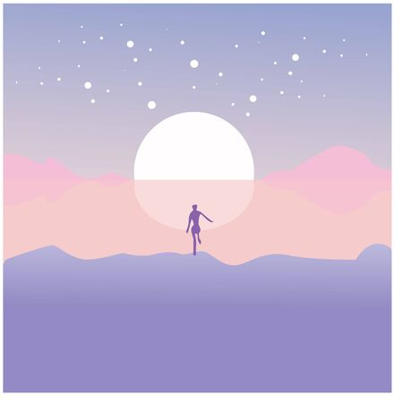 Beach scenery, silhouette girl walking on the beach vector illustration