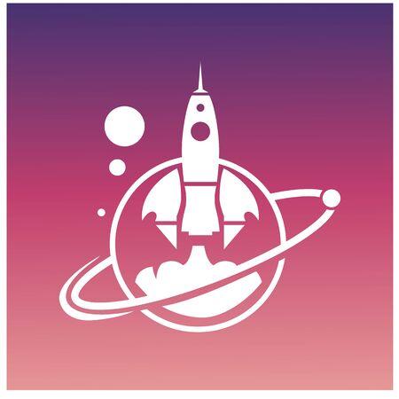 Rocket launch. Start up concept. flat thin line icon design. vector illustration