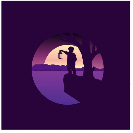 Flat design, boy stand under the moonlight with a lantern, limbo, Vector illustration,background, black, moonlight