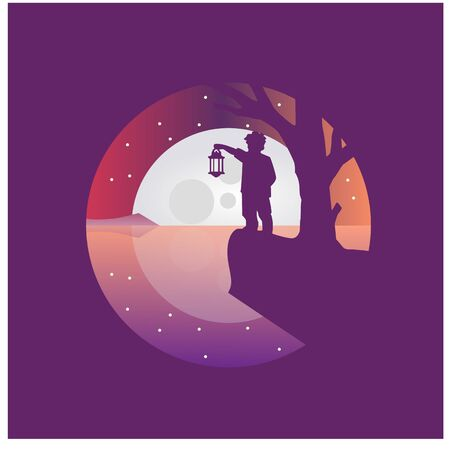 Flat design, boy stand under the moonlight with a lantern, limbo, Vector illustration,background, black, moonlight Ilustração