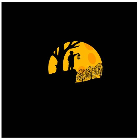Flat design, boy stand under the moonlight with a lantern, limbo, Vector illustration,background, black, moonlight Ilustração