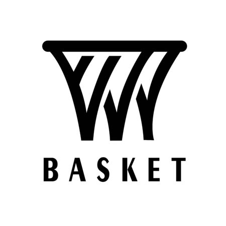 Basketball logo vector concept with W letter  イラスト・ベクター素材