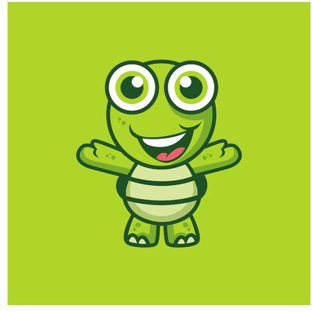 Cute turtle cartoon, kawaii turtle cartoon illustration vector