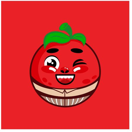 Cartoon mascot cute tomato. Vector illustration. kawaii tomato 일러스트