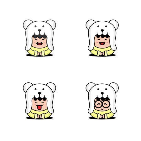 Set Cute Little Children Wearing Bear Costume Design Vector