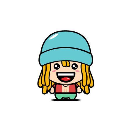 Cute Boy Mascot Character with Dreadlocks Hairstyle Design Vector. Beach Boy Mascot Concept.