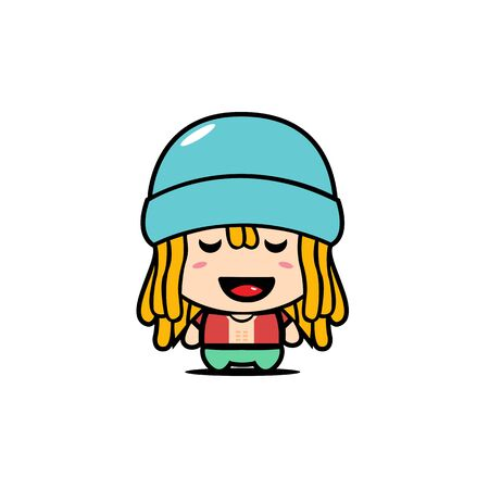 Cute Boy Mascot Character with Dreadlocks Hairstyle Design Vector. Beach Boy Mascot Concept.