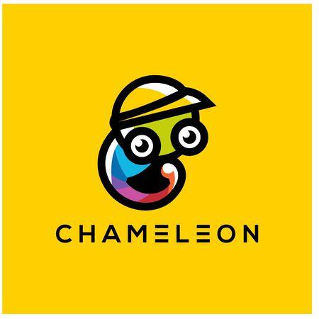 CUTE CHAMELEON MASCOT LOGO DESIGN VECTOR
