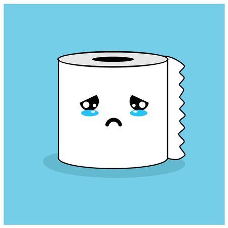 cute toilet paper mascot vector design. tissue concept Vettoriali