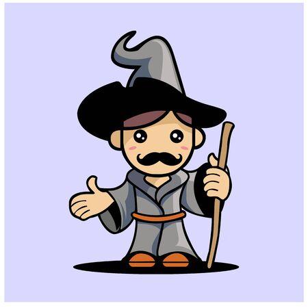 Cute Wizard Mascot Character Design Vector Illustration. Wizard Cartoon Concept