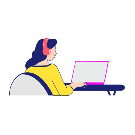 Girl with laptop design vector illustration. working at home