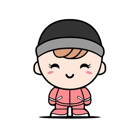 Vector Of Cute Boy Characters Wearing winter clothing isolated