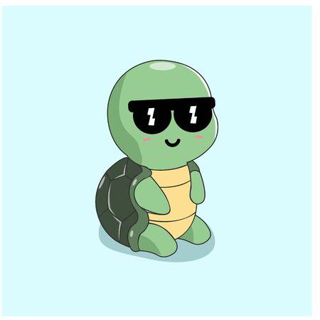 Cute Turtle Character Vector Mascot Design