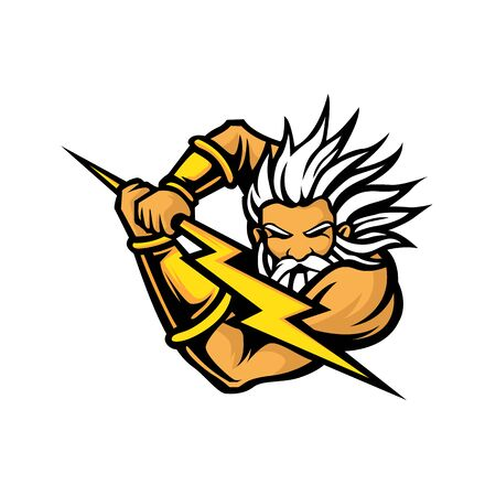 Powerful greek god Zeus with a lighting bolt in hand for e-sport logo.