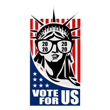 2020 Presidential Election. 2020 United States of America Presidential Election. Vote America Presidential Election Vector Design. Liberty statue Vote For US Ilustrace