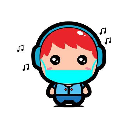 Cute Music Boy Wearing Mask for prevent virus Covid-19 Design Vector