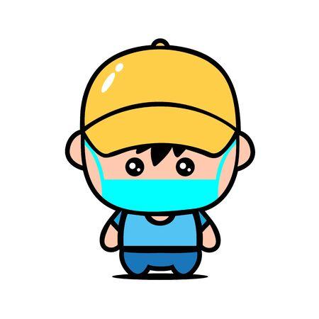 Cute Boy Wearing Mask for prevent virus Covid-19 Design Vector