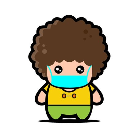 Cute Fat Afro Boy Wearing Mask for prevent virus Covid-19 Design Vector 일러스트