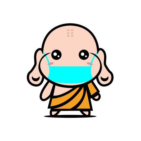 Cute Buddha Wearing Mask for prevent virus Covid-19 Design Vector 일러스트