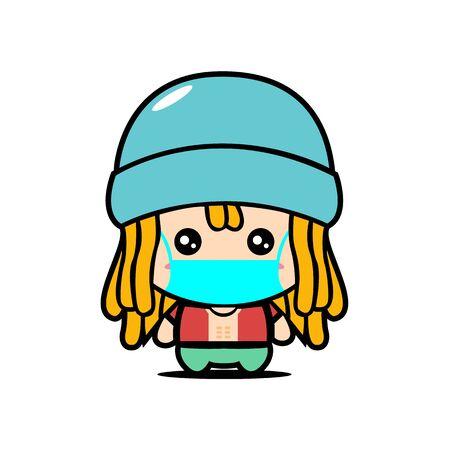 Cute Rasta Boy Wearing Mask for prevent virus Covid-19 Design Vector 일러스트