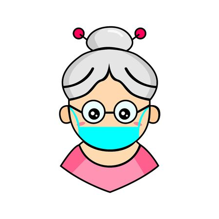 Cute Grandma Wearing Mask for prevent virus Covid-19 Design Vector. 일러스트