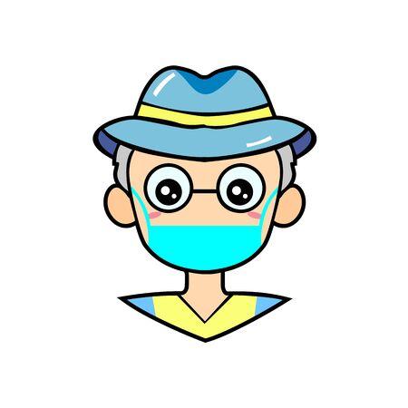 Cute Grandpa Wearing Mask for prevent virus Covid-19