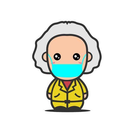 Cute Professor Wearing Mask for prevent virus Covid-19 Design Vector 일러스트