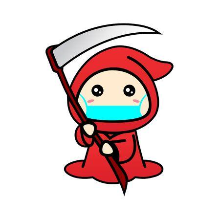 Cute Grim Reaper Wearing Mask for prevent virus Covid-19 Design Vector